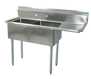 Bk Resources 2 24 x24 x14 d Compartment Sink Right Drainboard Stainless
