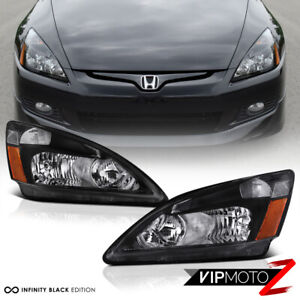 For 03 07 Honda Accord Headlight Black Housing Amber Corner Signal Replacement