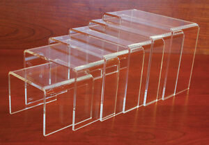 Plexiglass Table Top Jewelry Display Store Fixture Riser Clear Set Of 6 New