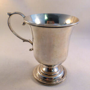 Southern Coin Silver Hayden Gregg Gale Wood Hughes Beaded Footed Cup 4 3 8