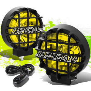 6 Round Black Body Yellow Fog Light Offroad Super 4x4 Guard Work Lamp Grille