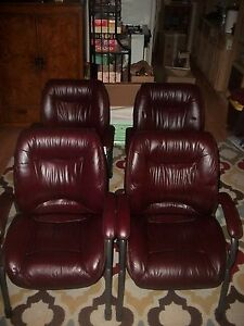 Lot Of 4 Lane Burgundy Guest Reception Office Patio Dinning Chairs