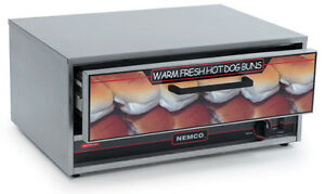 Nemco 8027 bw Stainless Moist Heat Hot Dog Food Warmer 32 Bun Capacity