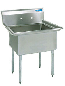 Bk Resources 1 Compartment Stainless Sink Nsf W 16 X 20 X 12 D Bowl