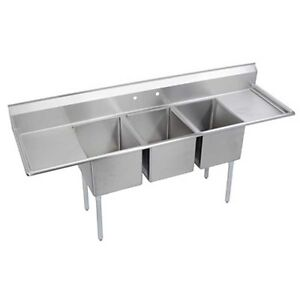 Elkay Foodservice 3 Comp Deli Sink 10 x14 x10 Bowl Two 16 Drainboards 16 300