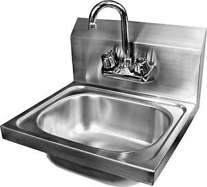 Stainless Wall Mt Hand Sink 16x15 W Gooseneck No Lead Faucet