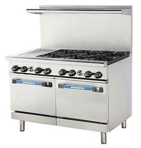 Radiance 48 Commercial Gas Range 2 Std Ovens 6 Burners 12 Griddle