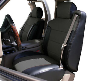 Chevy Silverado 2000 2002 Black charcoal Leather like Front Seat 2arm Covers