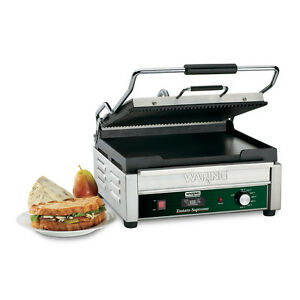 Waring Wdg250t 14 5 x11 Panini Grill Ribbed Top Flat Bottom W Timer