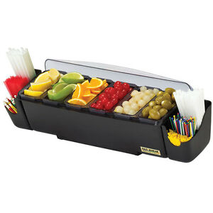 San Jamar Bd4006s 6 Compartment Counter Top Bar Condiment Server