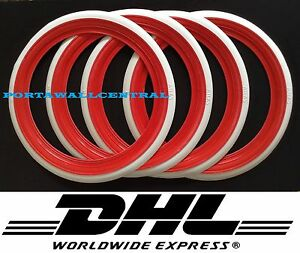 13 Add On Red White Wall Portawall Tire Insert Trim Set Of 4