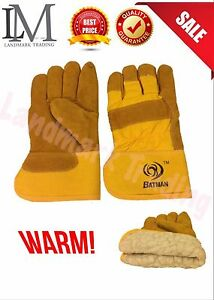3 6 120 Pairs Super Warm Yellow Leather Insulated Work Gloves