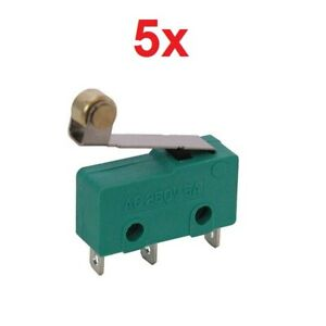 5x Roller Lever Hinge Limit Switch Micro Spdt 3a 250vac 5a 125vdc 12v 3 pin Mini