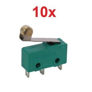 10x Roller Lever Hinge Limit Switch Micro Spdt 3a 250vac 5a 125vdc 12v 3 pin