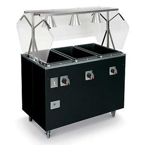 Vollrath T38769 3 Well Hot Food Steam Table Mobile W Storage Cherry