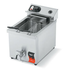 Vollrath 40709 15lb Electric Counter Top Fryer Medium Duty With Drain 220v