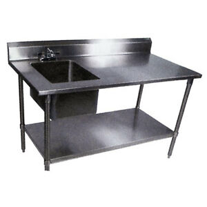 John Boos 30 x72 S s Work Table W Prep Sink Galvanized Undershelf