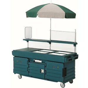 Cambro Kvc854192 4 Well Vending Merchandising Cart W Umbrella Granite Green