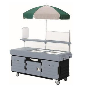 Cambro Kvc854426 4 Well Vending Merchandising Cart W Umbrella Black