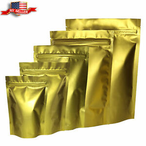 Variety Of Sizes For 100pcs Matte Gold Metallic Mylar Foil Stand up Ziplock Bags