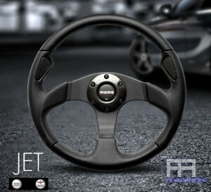 Momo Jet 320mm Tuning Steering Wheel Horn Black Leather With Carbon Ring