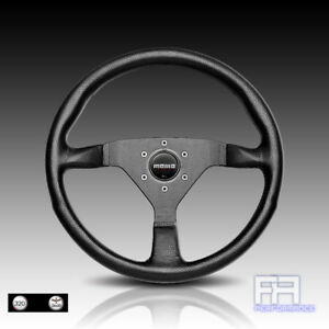 Momo Montecarlo 320mm Tuning Steering Wheel Horn Black Leather Black Sitich