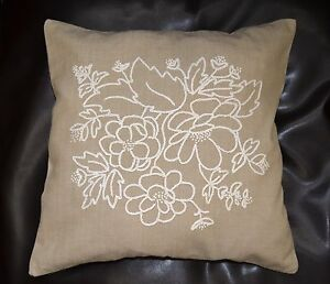 Vintage Hand Embroidered Pillowcase Floral