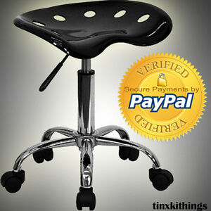 Black Height Adjust Tractor Stool Seat Chrome Pneumatic Home Office Chair Modern