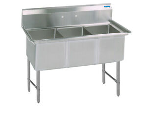 Bk Resources Bks 3 15 14s 50 w Three Compartment S s Sink 14 Deep W S s Legs