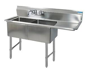 Bk Resources Bks 2 18 12 18r Two 18 x18 x12 Compartment Sink Drainboard Right