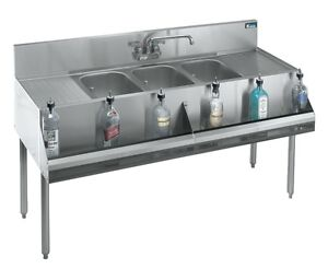 Krowne Metal 3 Compartment Bar Sink 19 d W Two 18 Drainboards Stainless