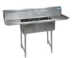 Bk Resources 3 Compartment Sink 14 x16 x12 With S s Legs Drainboard L