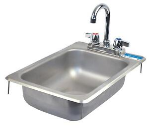 Bk Resources Drop In Stainless Steel Hand Sink 10 X 14 X 5 W Drain