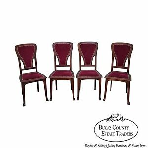 Antique French Art Nouveau Walnut Set Of 4 Side Dining Chairs Edouard Diot