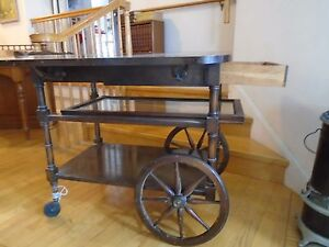 Vintage Wooden Drop Leaf Tea Cart Table With Wheels Local Pickup Only