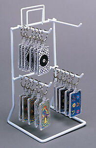 4 peg Countertop Keychain Small Item Display Rack Store White Lot Of 10 New