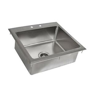 Bk Resources One Compartment 23 x21 Stainless Steel Drop in Sink