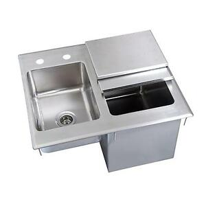 Bk Resources 21 wx18 dx12 d Stainless Steel Drop in Ice Bin With Sink