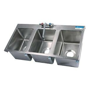 Bk Resources Three Compartment 36 x18 Stainless Steel Drop in Sink