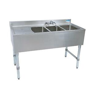 Bk Resources Bkubs 360ls 60 w Three Compartment Stainless Steel Underbar Sink