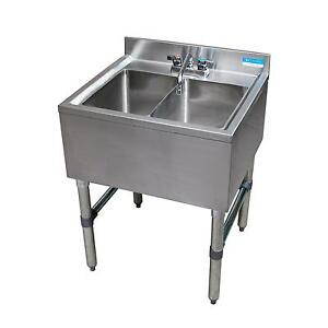 Bk Resources Bkubs 224s 24 w Two Compartment Stainless Steel Underbar Sink