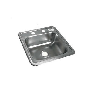 Bk Resources One Compartment 15 1 16 x15 1 16 stainlesssteel Drop in Sink