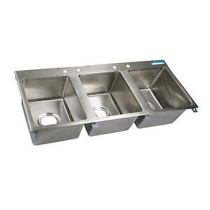 Bk Resources Three Compartment 56 x25 Stainless Steel Drop in Sink