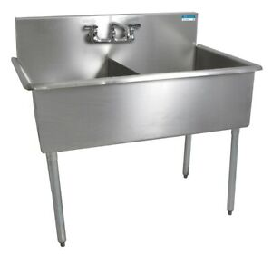 Bk Resources 51 x27 1 2 Two Compartment Stainless Steel Budget Sink