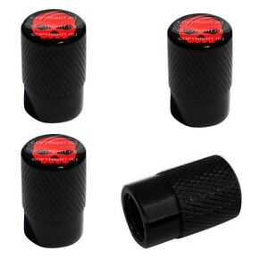 4 Black Billet Aluminum Knurled Tire Air Valve Stem Caps Red Skull G B 4sp