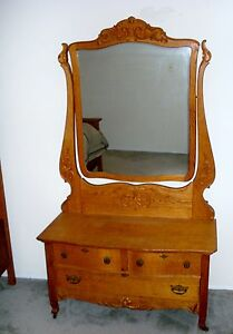 Antique Dresser Vanity Huge Dressing Mirror Fancy Design Great Golden Oak