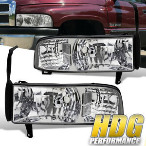 Dodge Ram 94 01 1500 2500 1pc Headlights Chrome Housing With Clear Reflectors