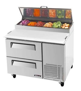 Turbo Air 44 Pizza Prep Table 6 Pans 2 Cooler Drawers Tpr 44sd d2