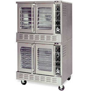 American Range M 2 Double Stack Gas Convection Oven Bakery Depth 2 Solid Doors