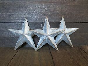 Lot Of 3 Galvanized Primitive Rusty Metal Stars 6 Country Tin Barn